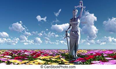 justice, -, illustration, fleurs, dame, 3d