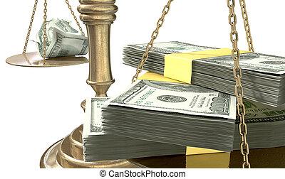 justice, inégalité, usa, trouée, revenu, balances