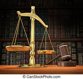 Justice is served - Scales of justice and gavel on desk with...