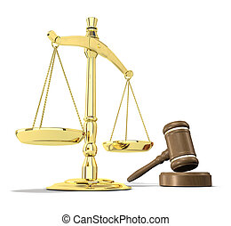 Justice is served - Scales of justice and gavel on white ...