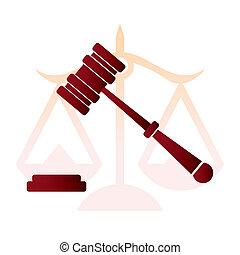 justice, judge hammer, law - illustration