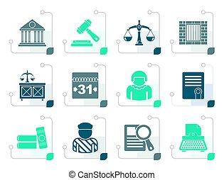 justice, judiciaire, stylisé, système, icônes