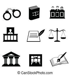 justice, légal, icônes