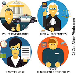 Justice Law and Order Legal Services Symbol Crime Punishment  Social Responsibility Icons Set Isolated on Stylish Background Modern Flat Design Vector Illustration