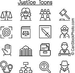 Justice , Law, Court icon set in thin line style