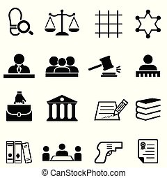 Justice, law, legal and lawyer icon set - Justice, law,...