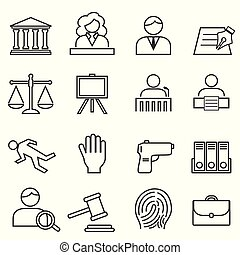 Justice, law, legal icon set