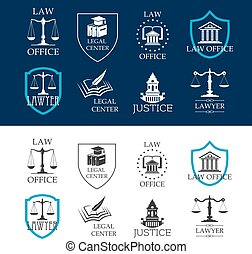 Justice, law office and legal center icons - Lawyer and...