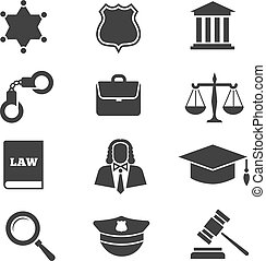 Justice, law, police vector icons. Set of justice icons,...