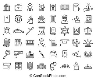 Justice legal icons set. Outline set of justice legal vector icons for web design isolated on white background