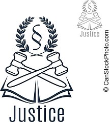 Justice legal vector emblem of gavel, wreath, book