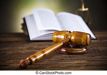 justice, livre, marteau, balances