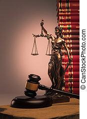justice, livres, marteau, statue, droit & loi