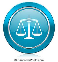 justice, loi bleue, icône, signe
