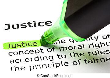 'justice', markerad, in, grön