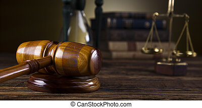 justice, marteau, échelle