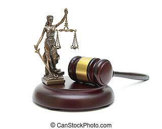 justice, marteau, blanc, statue, fond