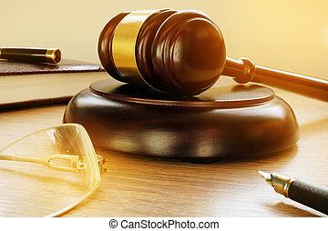 justice, marteau, concept., court., législation