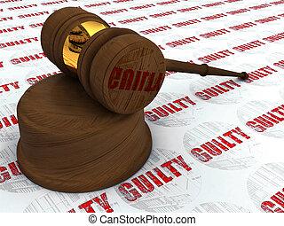 justice, marteau, et, coupable