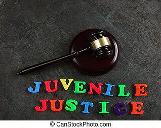 justice, marteau, juvénile