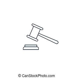 justice, marteau, ligne, icon.