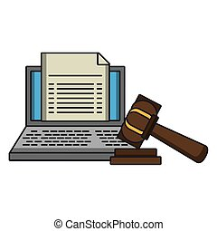 justice, marteau, ordinateur portable, document, symbole