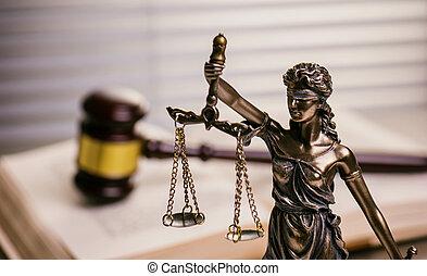 justice, marteau, statue, bureau, avocat