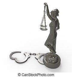 justice, menottes, rendre, statue, dame, 3d