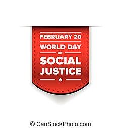 justice, mondiale, jour, ruban, social