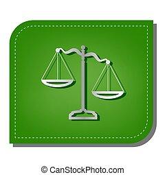justice, ombre, argent, écologique, balances, rapiécé, leaf., signe., ligne, vert, illustration., sombre, icône, gradient
