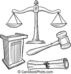 Justice or law objects sketch - Doodle style justice or law ...