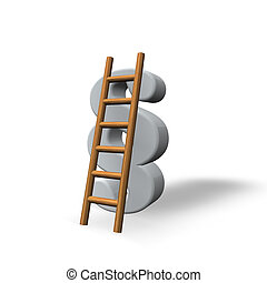 justice - paragraph sign and a ladder on white background -...