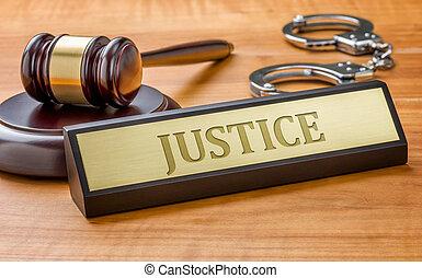 justice, plaque, gravure, nom, marteau