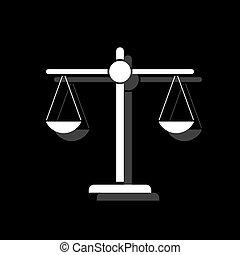 justice, plat, échelle, icône