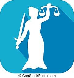 justice, plat, statue, icône