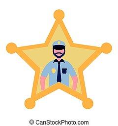 justice, police, étoile