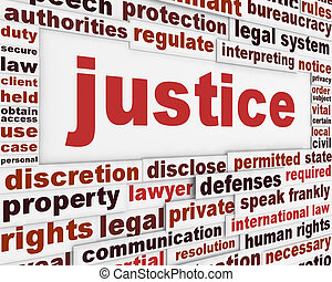 Justice poster concept. Law message background