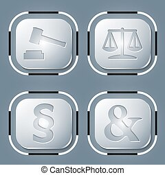 justice, quatre, symbole, ensemble, icône