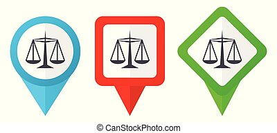 Justice red, blue and green vector pointers icons. Set of colorful location markers isolated on white background easy to edit.