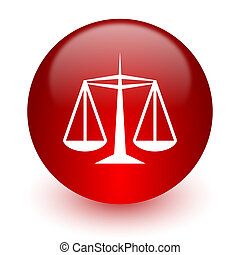 justice red computer icon on white background