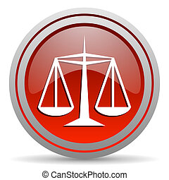 justice red glossy icon on white background