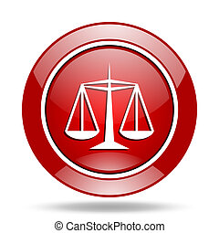 justice red web glossy round icon