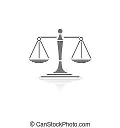 justice, reflet, fond, blanc, icône, balances