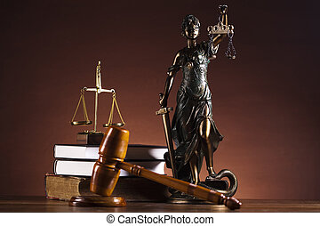 Justice Scale and Gavel - Law and justice concept in studio....