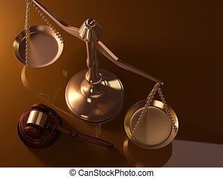Justice scale and gavel - A golden justice scale and gavel -...