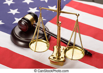 Justice Scale And Wood Gavel On Usa Flag