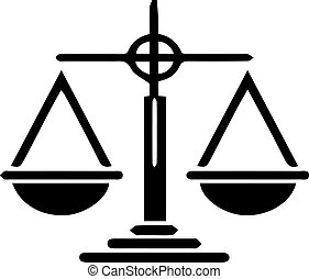 justice scale icon on white background