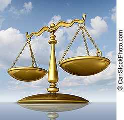 Justice scale of law made of chrome metal on a sky background as a symbol of the legal system in government and society in enforcing rights and regulations.