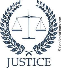 Justice scales and law vector laurel wreath icon