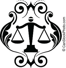 justice scales - Vector floral icon with justice scales